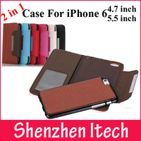 Combo 2 In 1Litchi Pattern Luxury Wallet Leather Case For iPhone 6 4.7 Flip Book Magnetic Flip For iPhone6 plus 5.5 Case