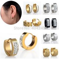 New Fashion Jewelry Punk Women Stainless Steel Crystal Earrings Huggie Ear Studs Unisex Earrings