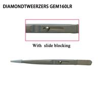 Jewelry Chip Tweezers Slide Lock Slot Serrated Tip Diamond tweezers GEM161LR Free shipping