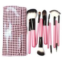 10 PCs Makeup Goat Hair Make up Brush Pony Hair Brushes Kit Ultra Soft Synthetic Hair Brush in Pink Lattice Leather Bag