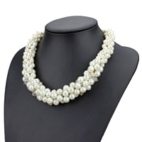 full pearl necklace fashion glass crystal pearl bib statement necklace 8MM pearl chain necklace for women