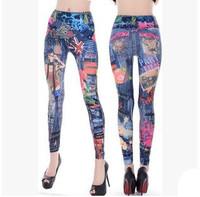 Vintage Women Jeans Fashion Printed Slim Elastic Waist Skinny Pants America Apparel Ladies Sexy Tattoo Leggings Trousers