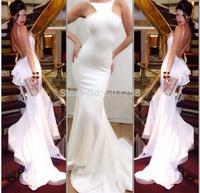 DH55 2015 White Backless Style Mermaid Chiffon Prom Dress