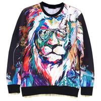 Glass Tiger / Deer / Fox Animal Print Men's Crewnecks  3D Hoodies Sweatshirts  Long Sleeve Outerwear Pullovers