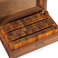 70pc Number Alphabet Letter Wood Stamp With Wooden Box