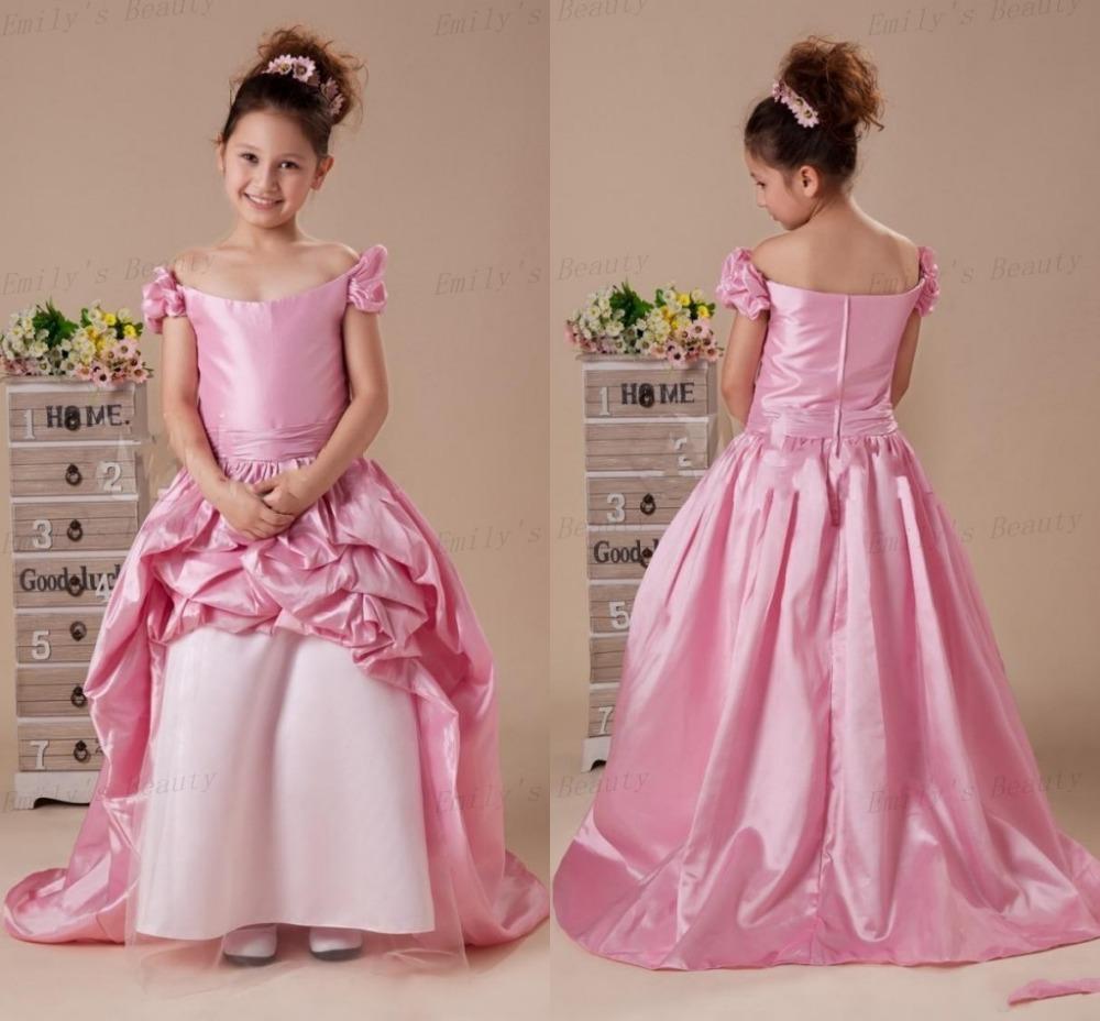 2015 Pink Flower Girls Dresses For Weddings Arrive Beaut Neck Ball Gown Floor Length Taffate