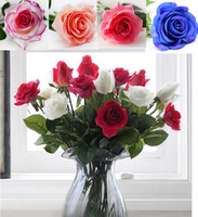 10pcs/lot HI-Q real touch rose Artificial Flowers slik Flowers Home decorations for Wedding Party or Birthday, photography