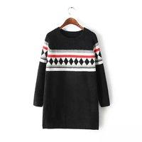 5776-2014 Winter Women new round neck raglan sleeves spell color diamond rabbit wool knit Dress
