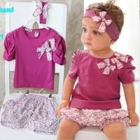 2014 New Hot Selling 100% Cotton Baby Girls Set 3pcs:headband+shirt+pant Purple Princess Summer Clothes Three Pieces AHY021