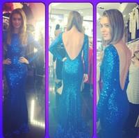 2015 New arrivals Long sleeves prom dress backless mermaid sequin vestidos de festa vestido longo