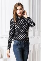 Classic Design Women Long Sleeves Clothes Collar Neck Polka Dot Europe Style Clothes Free Ship