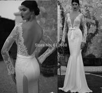 Romantic Brand vestido de noiva Deep V-neck Lace Beaded Full Sleeve Sexy Open Back See Through Mermaid Wedding Dresses 2015
