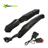 """ROCKBROS 26"""" Bike MTB Fender Mudguard Front & Rear Quick Release With LED With USB Charger Rechargeable Mud Guard Set Black"""