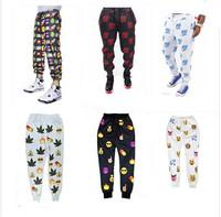 Free Shipping 2015 3d print 100 Hundred points emoji Joggers pants smile face pants women men casual sport loose cute cartoon