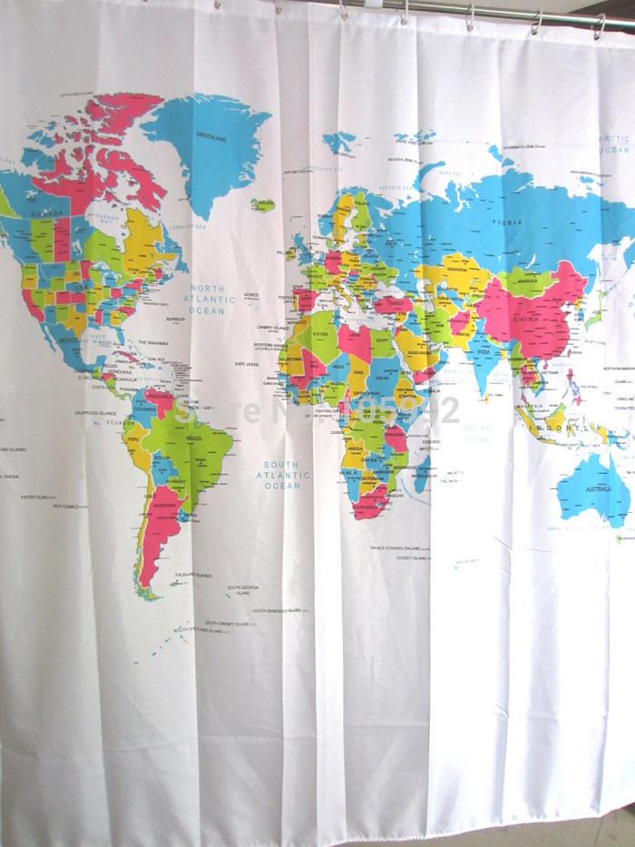 Cortinas De Baño Lavables:World Map Shower Curtain
