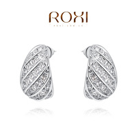 ROXI Exquisite rose golen,fashion delicate eggplants earrings for elegant women party with zircon,best Christmas gift