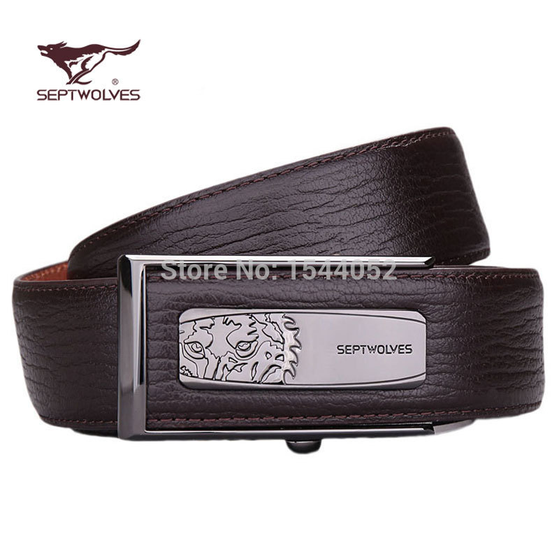 For SEPTWOLVES male genuine leather strap fashion innerwear automatic buckle waist of trousers casual belt(China (Mainland))