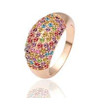 Free Shipping Fashion Luxury Women Wedding Jewelry 18k Gold Colorful Crystal Gem Zircon Girls Finger Rings Female Gifts 18R053