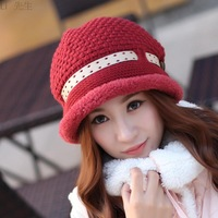 Free Shipping Winter Hat For Women Girls Knitted Bucket Hat With Good Quality fashion faux feather belt knitted hat