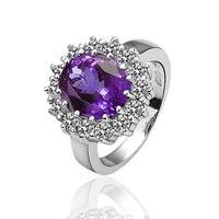 Free Shipping Fashion Luxury Women Wedding Jewelry 18k Gold Purple Crystal Gem Zircon Female Finger Flower Rings Gifts 18R029