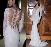 Romantic Brand vestido de noiva V-neck Beading Lace Full Sleeve Sexy See Through Back Chapel Train Mermaid Wedding Dress 2015