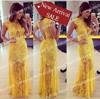New Arrival High Quality Short Sleeve Sexy Backless Hollow Out Design Lace Dress For Women Solid Color Slim Long Evening Dress