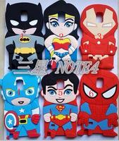 3D Superhero Captain Iron Man Batman Superman Silicone Case for Samsung Galaxy note4 N9100