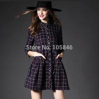 2015 New Spring Autumn Disigner Brand England Style Fashion Women Button Three Quarter Sleeve Pleated Pocket Classic Plaid Dress