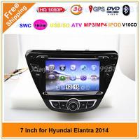 car audio DVD player for Hyundai Elantra 2014 radio with GPS +SWC +ATV+IPOD+BT+Radio+Telephone book+Free map