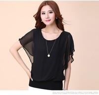 New 2014 Fashion Women's Summer Short-sleeve Top Ladies Chiffon Blouses Shirts Female Elegant Batwing Plus size Casual B-2068