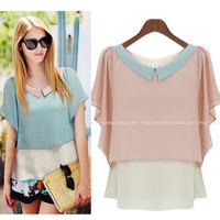 summer new European and American hit color doll collar loose chiffon blouse shirt Feifei sleeve chiffon shirt