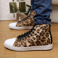 autumn high skateboarding shoes leopard print men shoes casual male sports Canvas shoes sneakers