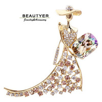 5colors Wholesale Crystal Fashion Lady Women Prom Brooches For Dress 14K Gold Plated Fashion Jewellery Accessories Beautyer XZ19