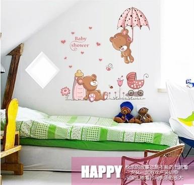 Free Shipping Baby Shower Bear Pink Cartoon Wall Stickers For Kids Rooms Home Decoration DIY Pegatinas Enfeites Para A Casa(China (Mainland))