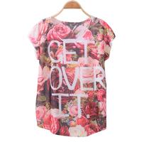 FS-3001 NEW ARRIVAL Womens tops fashion 2015 Flower Print Cotton Tshirts For Women