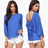 2014 New Women's Chiffon Shirt Spring Summer Brand Leopard Print Bow Blouse Shirt Fashion Shirt Woman Clothes
