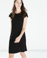 2015 Spring New Women Sexy Lace Patchwork Short Sleeve O Neck Zipper A-Line Black Wedding Dress Party Evening Vestidos q319