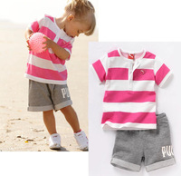 Retail 2014 baby unisex sets Children clothing summer male female child stripe twinset casual short-sleeved tshits shorts suits