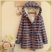 Winter women's print drawstring waist slim plus velvet wadded jacket thickening outerwear Snow Wear