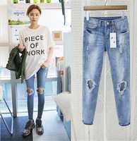 free shipping!2015women jean The new knee hole Slim jeans feet pencil pants women denim jeans