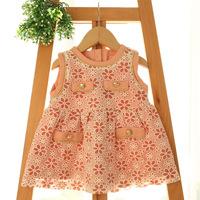 2015 New baby girls floral vest dress children princess dress button 3 colors 5 pcs/lot wholesale 2022
