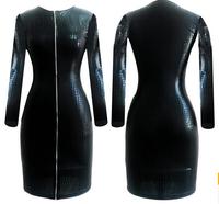 FREE SHIPPING long sleeve leather dress women