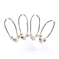 New Champagne Gold Rhodium Austrian Crystal Flower Pendent Necklace, Rhinestone Elements, 4 Color 65432-65435
