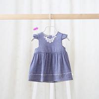 2015 New baby girls plaid dress children cotton dress lace bow 2 colors 5 pcs/lot wholesale 2023