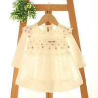 2015 New baby girls floral dress children lace princess dress long sleeve pink/white 5 pcs/lot wholesale 2024