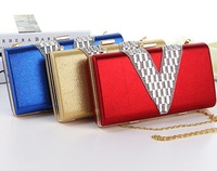 Top Quality Best Price Letter V Diamond Shape Rectangle Women' Imitation Leather Evening Clutch Bag, Shoulder Bags 3 Color