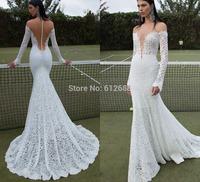 Romantic Brand vestido de noiva V-neck Lace Full Sleeve Sexy See Through Back Chapel Train Mermaid Wedding Dress 2015