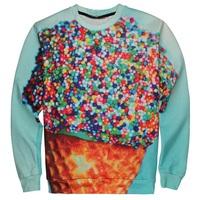New 2015 fashion Women/Men's 3d Sweatshirts Galaxy print Funny Ice Cream 3d hoodies sweater Sportwear long sleeves Harajuku top