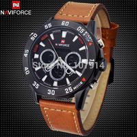 2015 Luxury NAVIFORCE Military Watches Men Quartz Digital Watch Waterproof 30M Leather Casual Sports Watch Brand Men Wristwatch