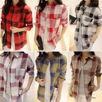 2014 Women Button Down Lapel Loose Plaids Check Flannel Cotton Casual Shirt Blouse free shipping